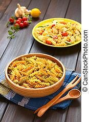 Raw Tricolor Fusilli Pasta - Raw tricolor fusilli or rotini...