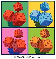 dice in pop art style