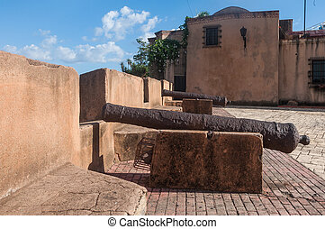 Cannons in santo domingo point to the sea