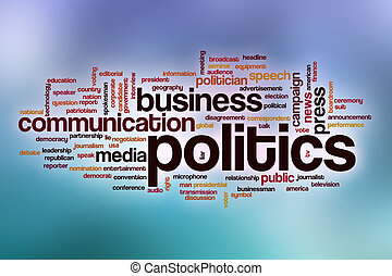 Politics word cloud with abstract background
