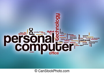 Personal computer word cloud with abstract background