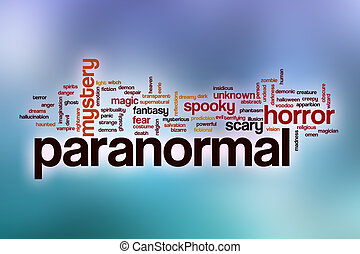 Paranormal word cloud with abstract background