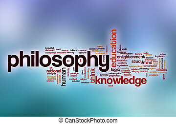 Philosophy word cloud with abstract background
