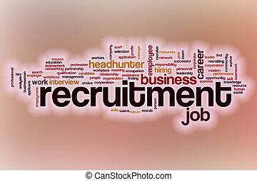 Recruitment word cloud with abstract background