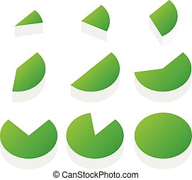 3d green piecharts process, progress, segment, part, slice,...