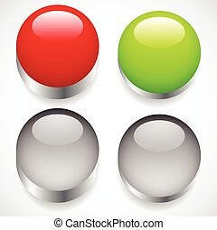 Intact, pressed button templates. Red, green pushbuttons, power buttons.
