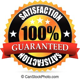 Satisfaction guarantee seal, stamp or badge with red ribbon,...
