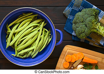Raw Green Bean, Broccoli and Carrot