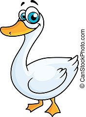 Cartoon goose with big eyes and yellow beak on white...