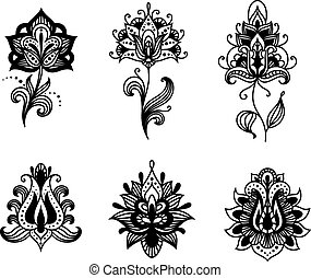Decorative indian or persian paisley flowers set isolated on...