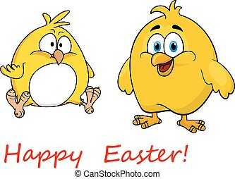Cute little cartoon Happy Easter chicks - Cute little yellow...