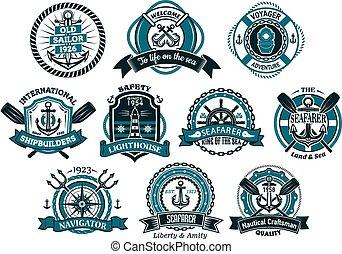 Logotipos,  seafarers, creativo, náutico, banderas, o