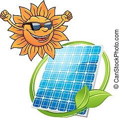 Happy sun with a photovoltaic cell - Cartoon sun with a...