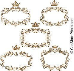 Royal vintage brown borders and frames emphasizing the crown...