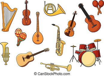 Cartoon set of colored musical instrument icons with a harp,...