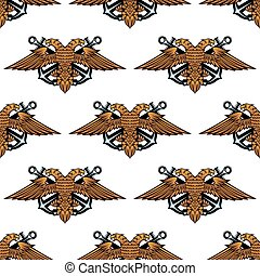 Eagle with crossed anchors seamless pattern