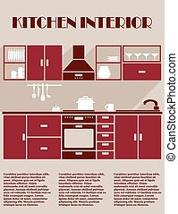 Kitchen interior infographic template in shades of maroon...