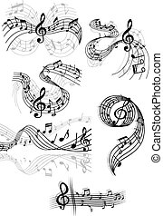 Swirling musical scores and notes - Black and white drawings...