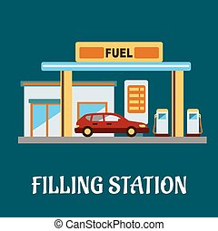 Car refueling at a filling station - Family car refueling...