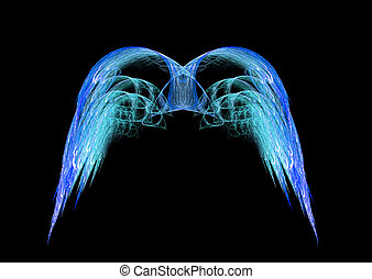 Blue Angel Wings - Vibrant blue angel wings fractal emblem...