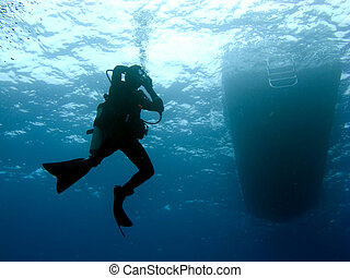 Diver Clearing Mask while Descending - Scuba Diver Clearing...