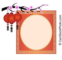 Chinese new year decoration,Red Chinese Lantern,flower