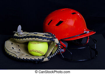Fastpitch Softball Glove and Helmet - A fastpitch glove and...
