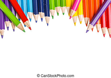 Closeup of Coloured Pencils isolated on white