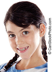 Adorable girl with braces a over white background