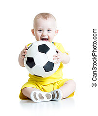 adorable kid with football over white background - adorable...