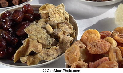 Different Types of Dried Fruits - Past the camera slowly...