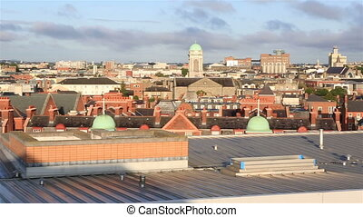 Morning view of Dublin city center Irelands capital