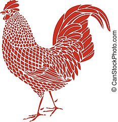 Red Rooster - Rooster vector illustration
