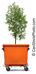 Blank refuse bin with green ash tree on white background