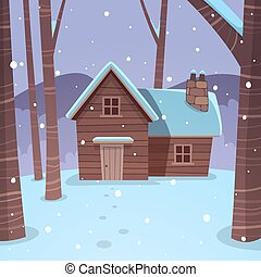 Cabin in woods - Cartoon illustration of the winter forest...
