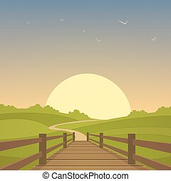 The wooden bridge - Cartoon illustration of the rural...