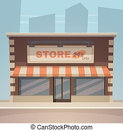 Cartoon Store - Front view of the store with city in...