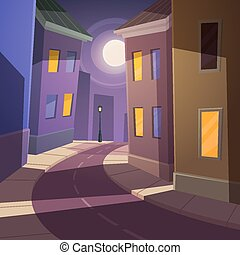 Night city street - Cartoon illustration of the road across...