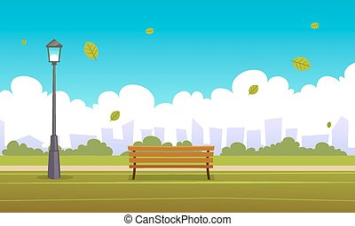 Summer City Park - Cartoon illustration of the summer in the...