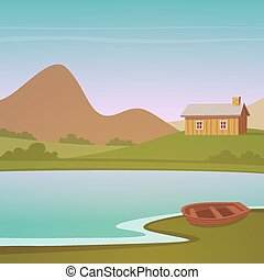 Cartoon Landscape - Small wooden house on the lake with...