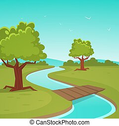 Cartoon Summer Landscape - Rural summer landscape, river...