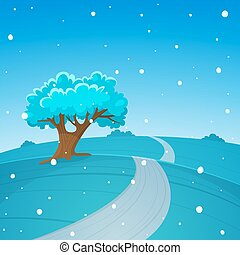 Country Road - The cartoon illustration of the winter...