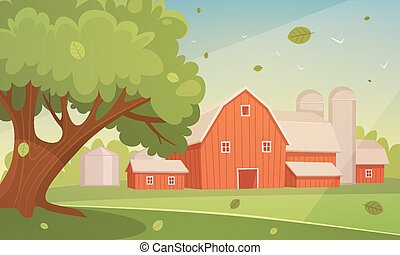Farm Cartoon Landscape - Cartoon illustration of the red...