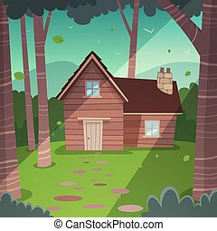 Cabin in woods - Cartoon illustration of the summer forest...