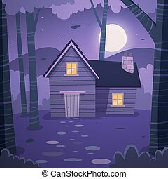 Cabin in woods - Cartoon illustration of the night forest...