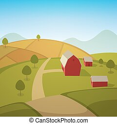 Farm Landscape - Rural summer landscape with red farm barn,...