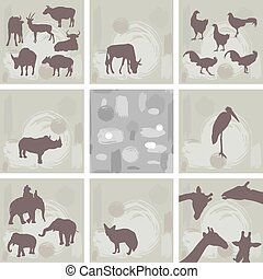 large set ofAfrican animals and abstract seamless pattern...