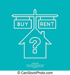 Concept of choice between buying and tenancy. House symbol...