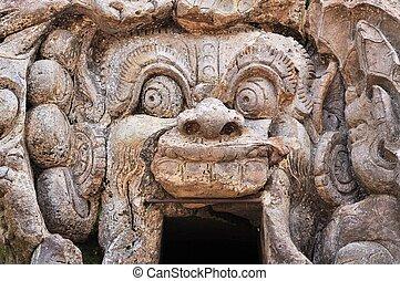 Hindu temple Goa Gajah, Ubud, Bali, Indonesia - Old Hindu...