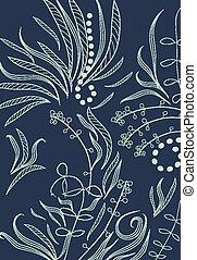Fantasy doodle floral background
